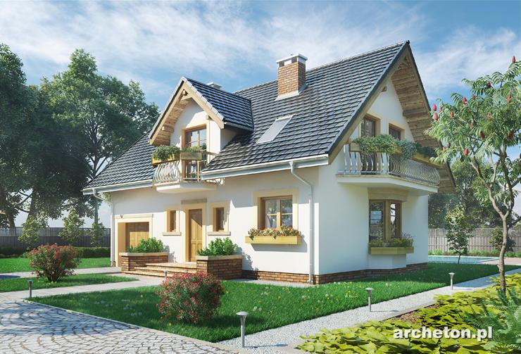 Projekt domu Zofia Rex - dom z użytkowym poddaszem, z wbudowanym garażem