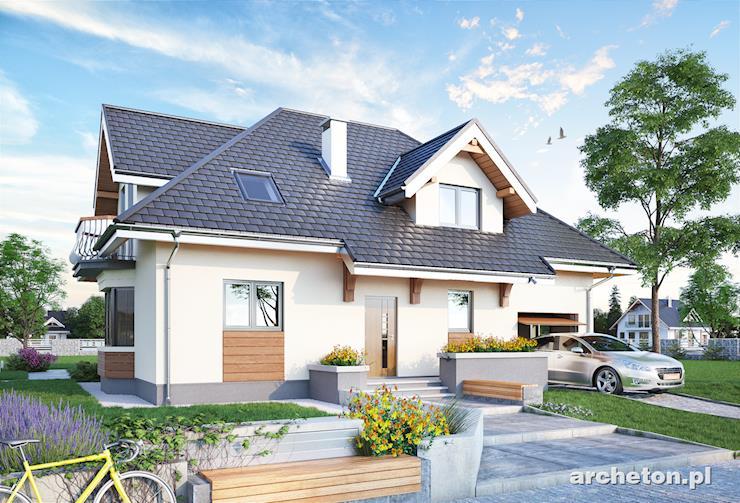 Projekt domu Zoja Karo - dom pokryty dachem wielospadowym, z wbudowanym garażem