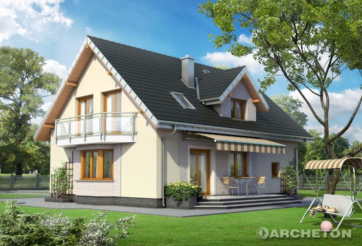 Projekt domu Zoja Lux Eko - dom energooszczędny z tarasem od strony ogrodu, zadaszonym markizą
