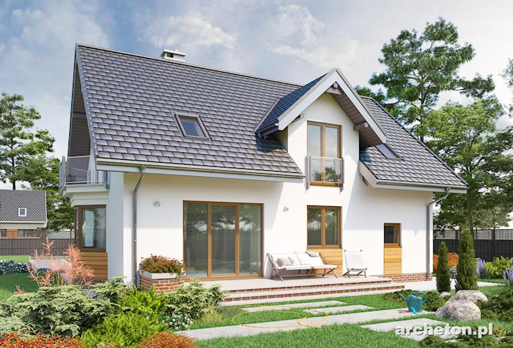 Projekt domu Zoja Rex - przytulny dom z niedużą kuchnią od frontu