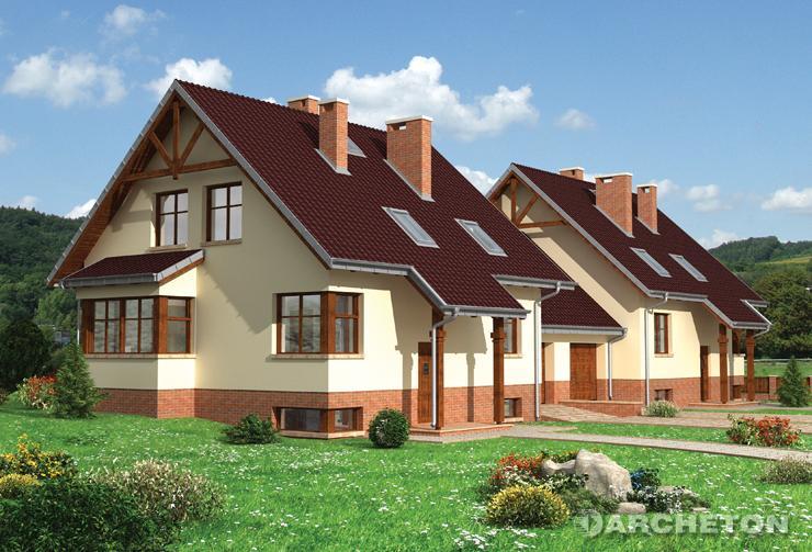 Projekt domu Żonkil-2 Duo - dom częściowo podpiwniczony do zabudowy bliźniaczej