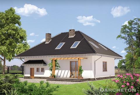 Projekt domu Zosia - dom w stylu dworkowym, z ryzalitem doświetlającym jadalnię