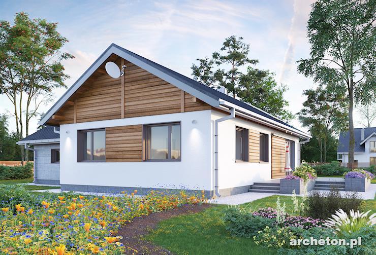 Projekt domu Żuczek - nieduży domek parterowy, zaprojektowany na planie litery T