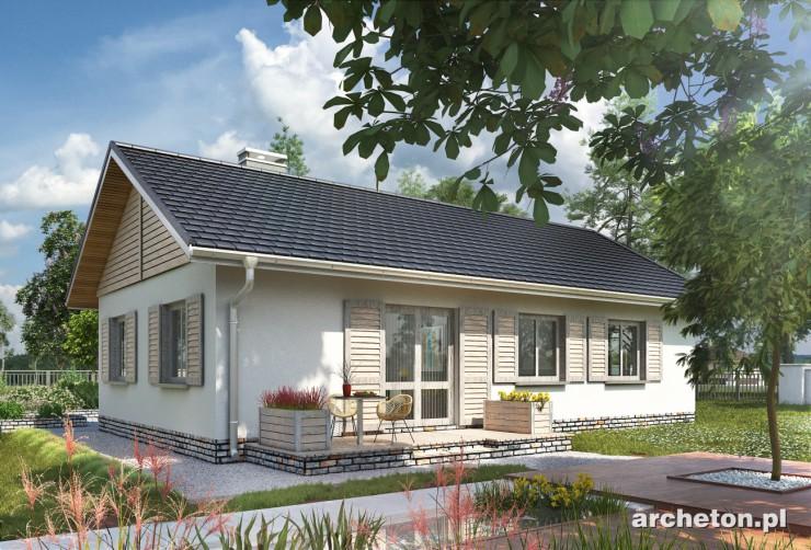 Projekt domu Żuczek-2 - mały niepodpiwniczony dom na rzucie litry T