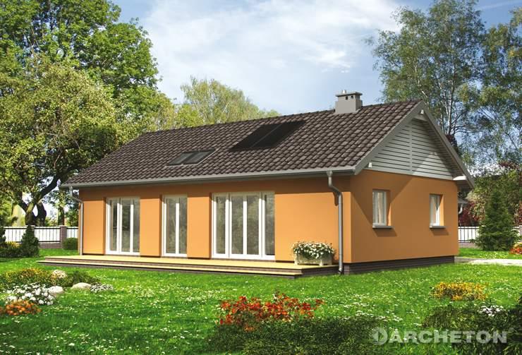 Projekt domu Żuczek Eko - mały energooszczędny domek w kształcie litery T