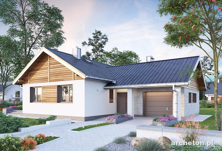 Projekt domu Żuczek - mały dom parterowy w kształcie litery L