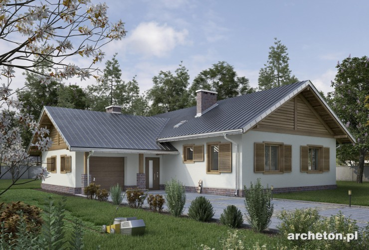 Projekt domu Żuczek As - dom parterowy bez piwnicy z dużym pokojem dziennym