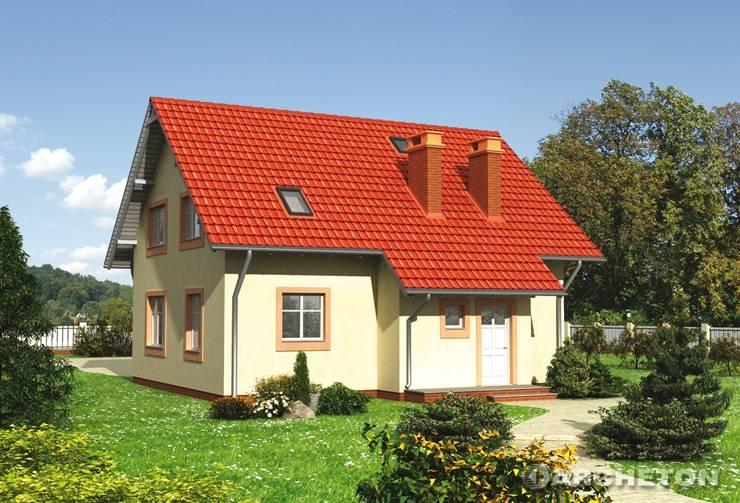 Projekt domu Żwirek - dom z podcieniami od strony wejścia i nad tarasem od strony ogrodu
